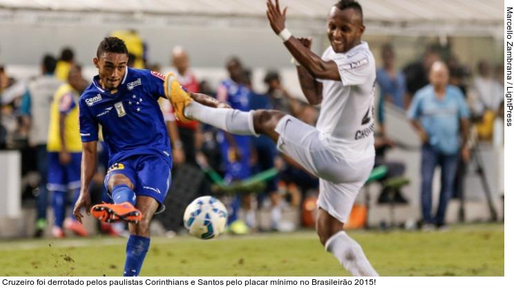 Cruzeiro foi derrotado pelos paulistas Corinthians e Santos pelo placar mínimo no Brasileirão 2015!